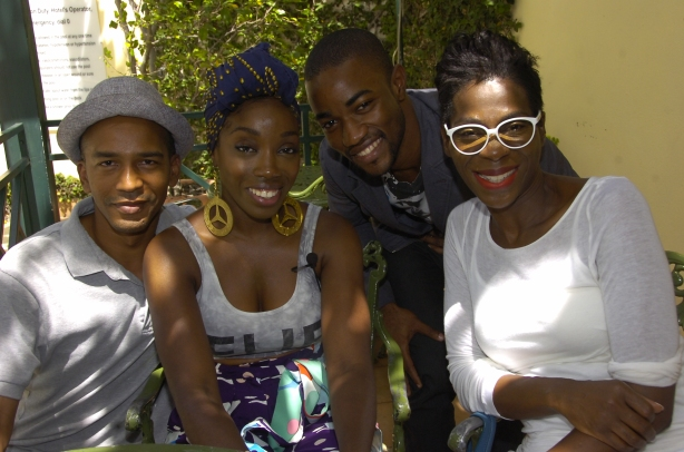In June, Estelle flew in for Caribbean Fashion Week and I was assigned to interview her for a Cocktails With (http://www.jamaicaobserver.com/lifestyle/Cocktails-with---Estelle-Swaray_11676070) and got a photo-op with co-worker Omar Tomlinson and our editor Novia McDonald-Whyte.